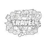 Travel - Hand Lettering and Doodles Elements  Royalty Free Stock Photography