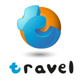 Travel Hand Lettering letter t logo. Typographic Royalty Free Stock Image