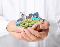 Travel in the hands Royalty Free Stock Photo
