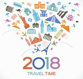 Travel and happy new year 2018 design background with icons and tourism landmarks. Royalty Free Stock Photography
