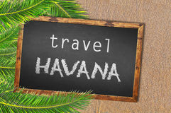 Travel Havana palm trees and blackboard on sandy beach Royalty Free Stock Image