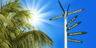 Travel header with palm tree and postsign Stock Photos