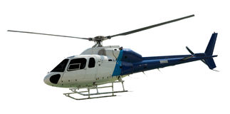 Travel helicopter with working propeller Stock Images