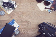 Travel hero header. Top view Traveling hero header with copy space in the center Royalty Free Stock Image