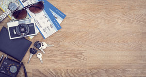 Travel hero header. Traveling hero header with copy space. Passport, tickets and traveling items Stock Photos
