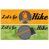 Travel And Hike Flat Banner With Axe. And Fire Stock Photos