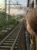 Travel by historical steam train stock photography