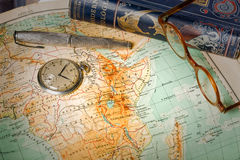 Travel in history. Old maps are large and interesting source of knowledge Stock Photo