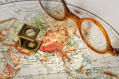 Travel in history. Old maps are large and interesting source of knowledge Royalty Free Stock Photos