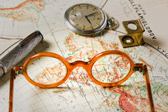Travel in history. Old maps are large and interesting source of knowledge Royalty Free Stock Images