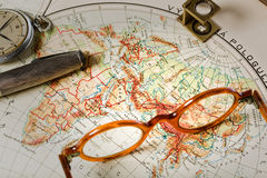 Travel in history. Old maps are large and interesting source of knowledge Stock Photography