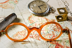 Travel in history. Old maps are large and interesting source of knowledge Stock Photos