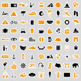 Travel and holiday big set of vector color stickers eps10 Royalty Free Stock Photography