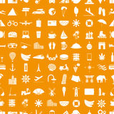 Travel and holiday big set of vector icons seamless pattern eps10 Stock Photo