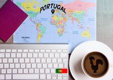 Travel holiday concept with coffee and map flag. Travel holiday concept with coffee and map with flag on keyboard and passport on wooden table. Travel to Rome Royalty Free Stock Images