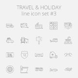 Travel and holiday icon set Stock Photos