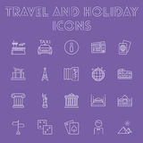 Travel and holiday icon set. Stock Photo
