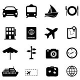 Travel and holiday icons. Travel and holiday related black icon set Royalty Free Stock Photo