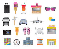 Travel and holiday icons. Set of travel, holiday and vacation vector icons. There is choice of many types isolated on white. Eps format is available Royalty Free Stock Images
