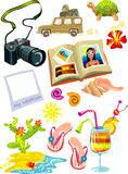 Travel and holiday objects. Vector illustration of bunch of travel and holiday objects - jeep, sea, photo camera, slippers, cactus, turtle etc. Isolated on white Stock Photos
