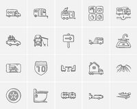 Travel and holiday sketch icon set. Royalty Free Stock Photography