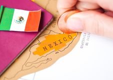 Travel holiday to Mexico concept with passport Royalty Free Stock Photos