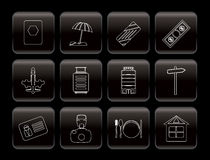 Travel, Holiday and Trip Icons Stock Photos