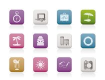 Travel, Holiday and Trip Icons Stock Photo