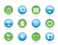 Travel, Holiday and Trip Icons Stock Images