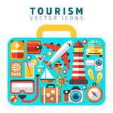 Travel holiday vacation concept with flat tourism vector icons in suitcase form Stock Image