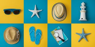 Travel holiday vacation minimal concept with beach items. Top view from above. Flat lay royalty free stock photo