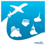 Travel holiday vacation suitcase plane adventure concept v Stock Photo