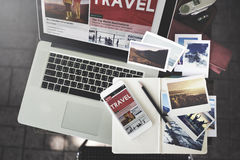 Travel Holiday Vacation Traveling Laptop Technology Concept stock images