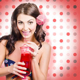 Travel holiday woman drinking red cocktail Royalty Free Stock Image