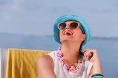 Travel holidays concept. Ocean background with copy space Stock Photography