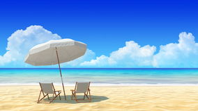 Travel, holidays, resort. Beach chair and umbrella on sand beach. stock footage