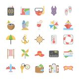 Travel and Holidays Vector Icons Set. Pack your bag and get ready for holiday and travelling. Pull that Summer and Holidays Vector Icons pack into your travel Royalty Free Stock Photography