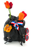 Travel in Holland. With backpack flag and souvenirs Stock Photo