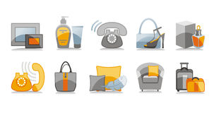 Travel and home icons set Stock Photos