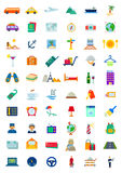 60 Travel & Hospitality Icons Set. Set of 60 travel and hospitality vector icons stock illustration