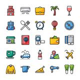 Travel And Hotel Flat Icons Pack royalty free illustration
