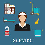 Travel and hotel service flat icons Stock Image