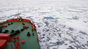 Travel In the ice , Arctic. Travel on the icebreaker in the ice , Arctic stock footage