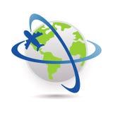 Travel icon. Illustration of travel icon with plane Stock Image