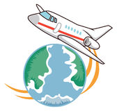 Travel icon. Vector travel icon with air and earth Stock Image