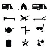 Travel icon black vector illustration Royalty Free Stock Images