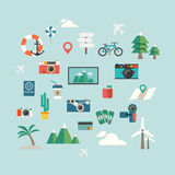 Travel icon on blue background Royalty Free Stock Image