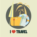 Travel icon flat design illustration Royalty Free Stock Image