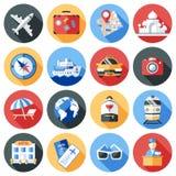 Travel Icon Flat Set Royalty Free Stock Photography