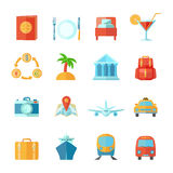 Travel Icon Flat Set Stock Photography
